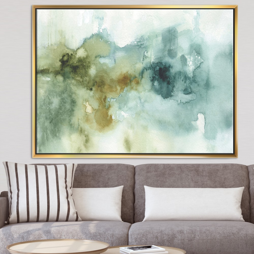 Abstract Watercolor Green House - Modern & Contemporary Framed Canvas