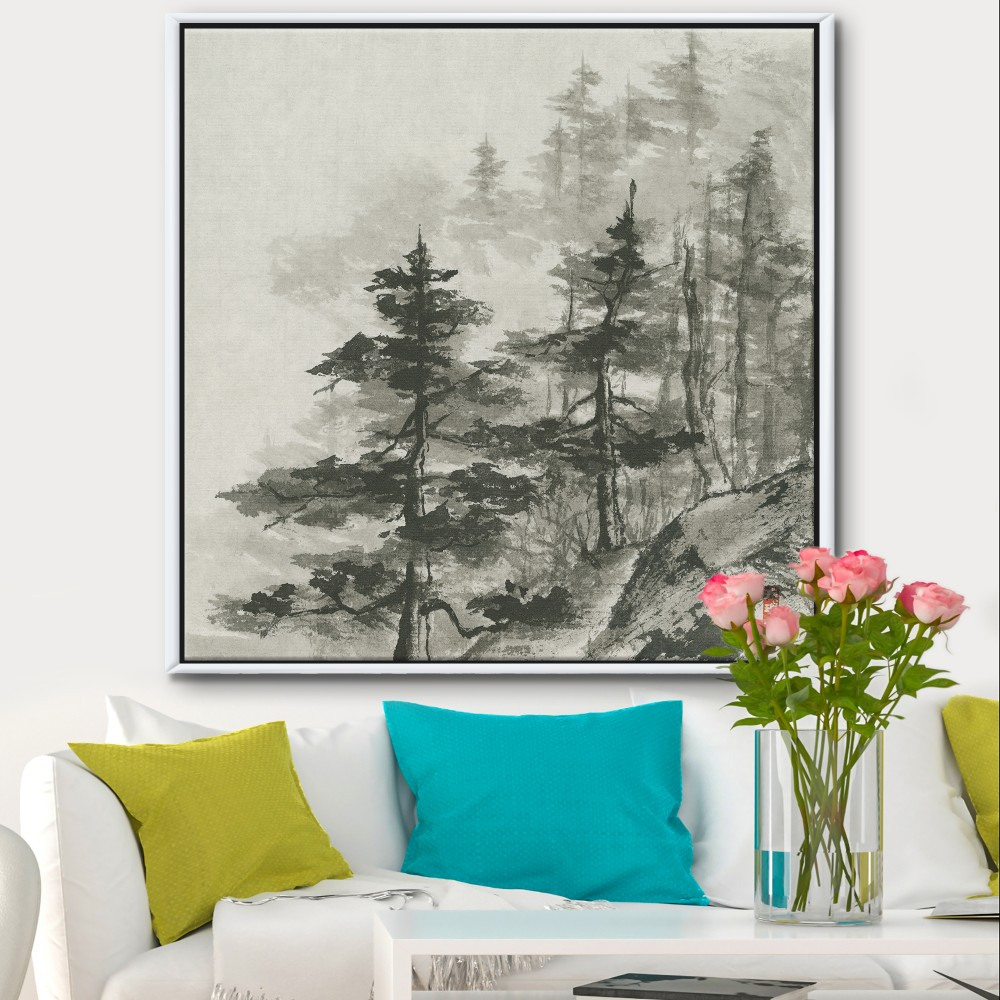 Asian Forest Cabin & Lodge Framed Canvas