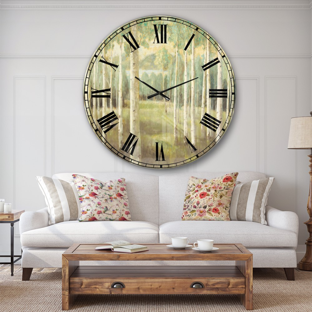 Designart Aspens Neutral Forest Traditional Oversized Metal Clock