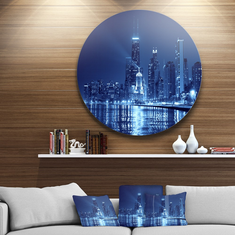 Blue Chicago Skyline Night Disc Cityscape Photo Circle Metal Wall Art - Round Wall Art
