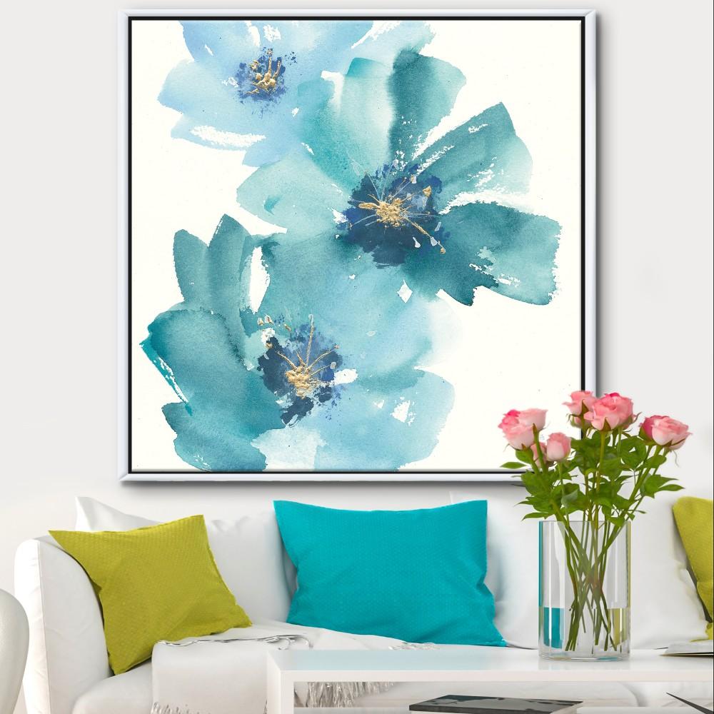 Blue Cosmos Indigo I Farmhouse Framed Canvas