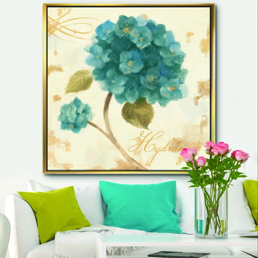 Blue Cottage Flower Hydrangea II Farmhouse Framed Canvas