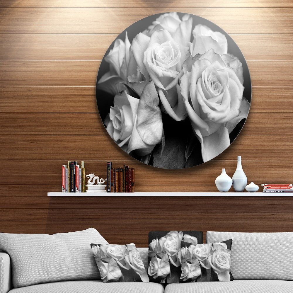 Bunch of Roses Black and White Ultra Vibrant Floral Metal Circle Wall Art - Round Wall Art