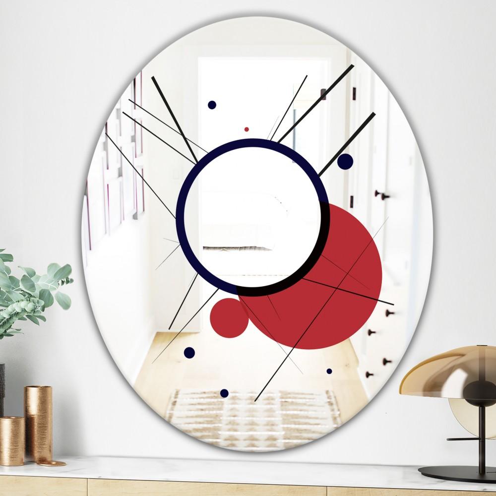 Circular Web 2 - Mid Century Modern Oval Mirror