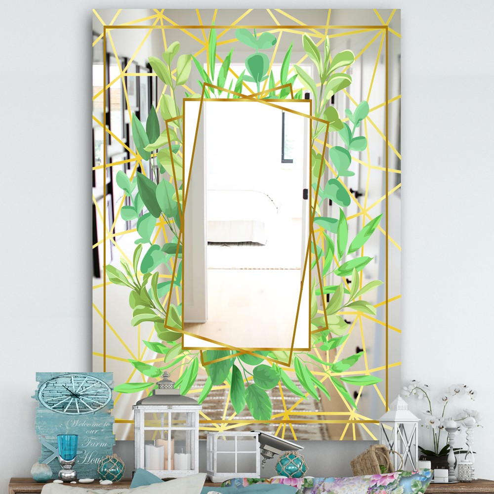 Efflorescent Gold Green 5 - Cottage Mirror