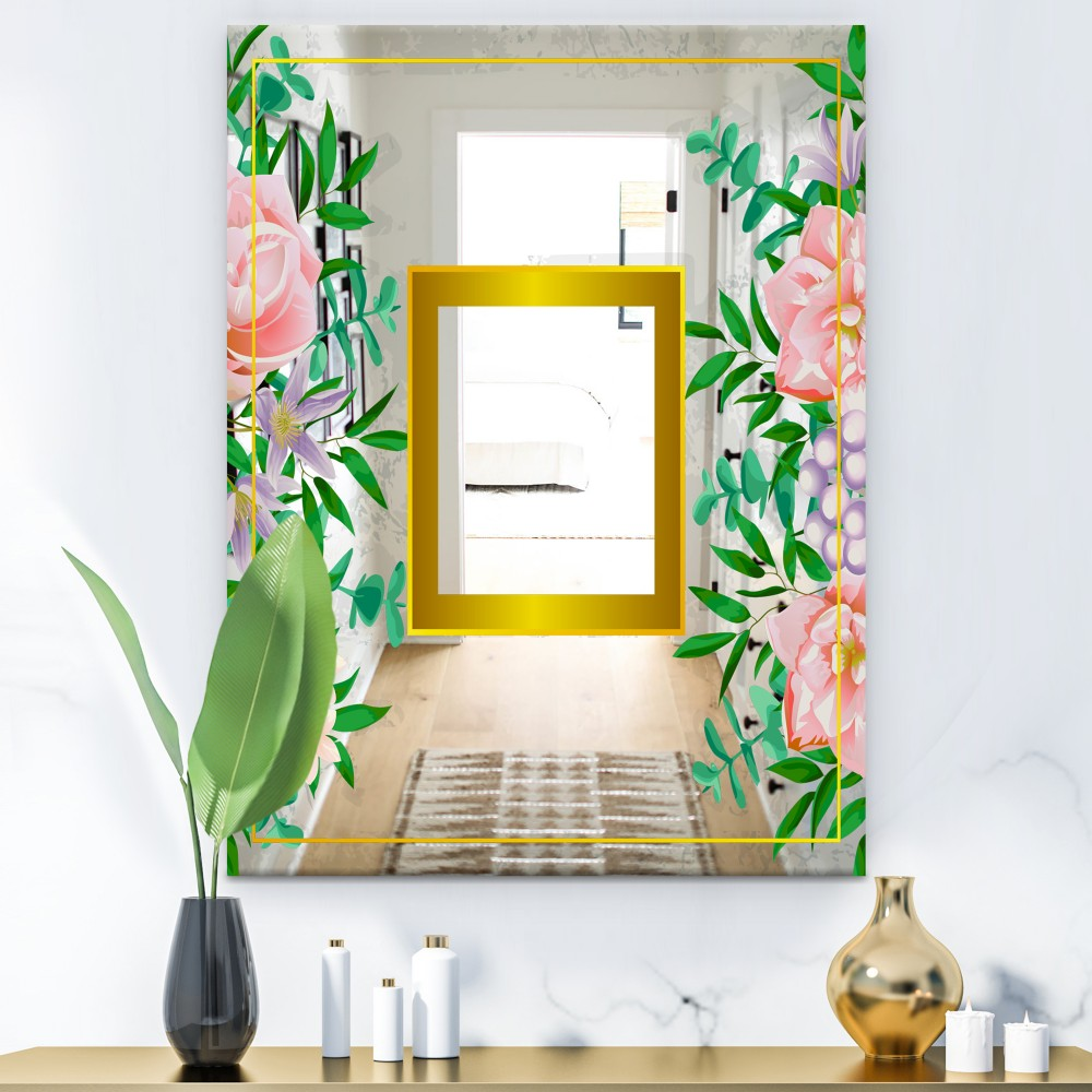 Efflorescent Gold Pink 10 - Glam Flowers Mirror