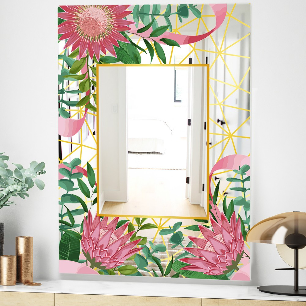 Efflorescent Gold Pink 4 - Modern_flower Mirror