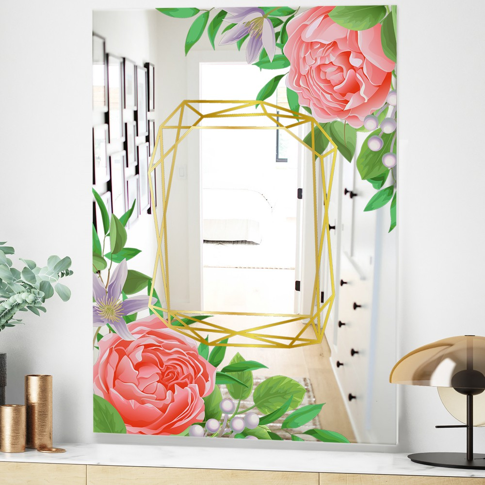 Efflorescent Gold Pink 6 - Modern_flower Mirror