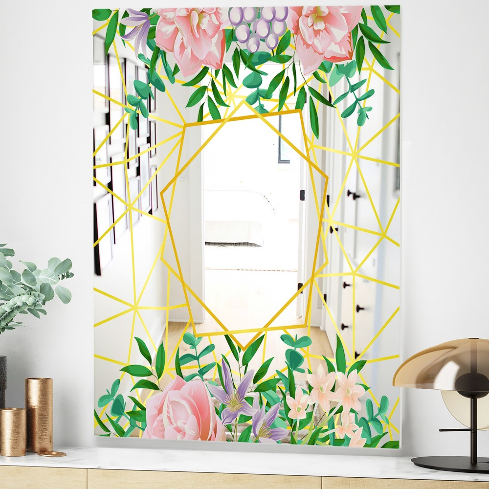 Efflorescent Gold Pink 8 - Modern_flower Mirror