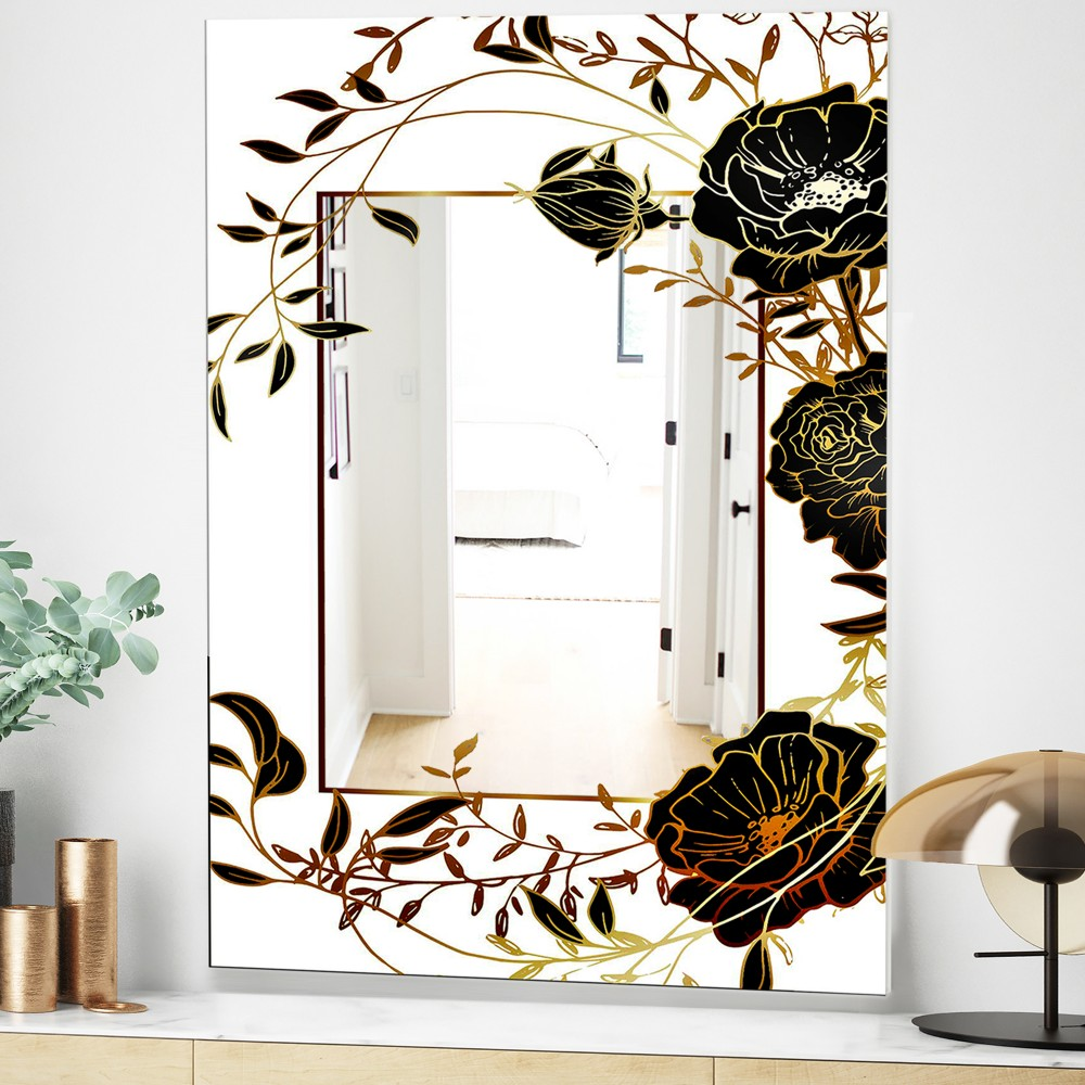 Gold Botanical Blooming 8 - Shabby Chic Flowers Mirror