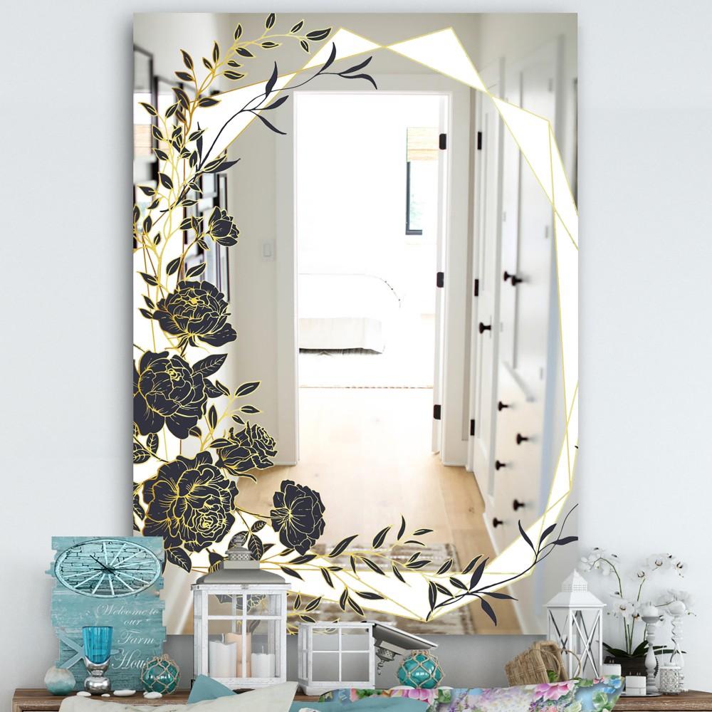 Gold Botanical Obsidian 1 - Cottage Mirror