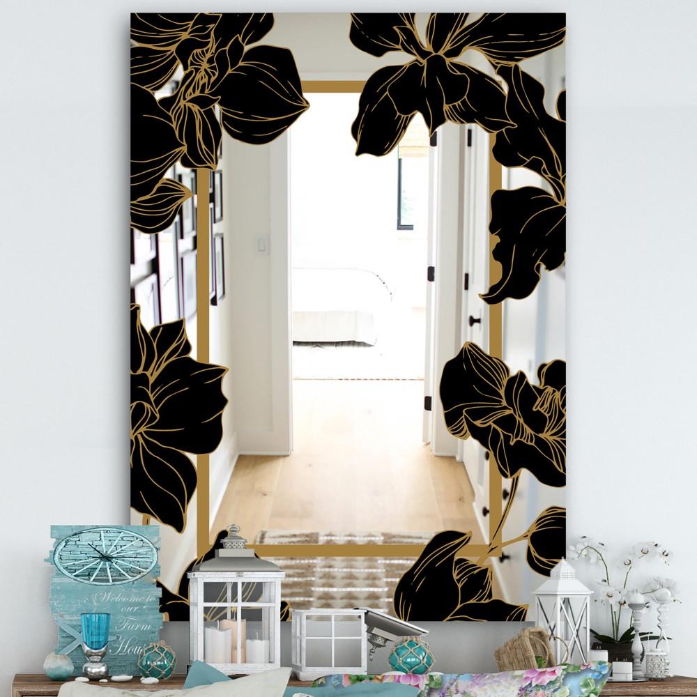 Gold Botanical Obsidian 7 - Cottage Mirror