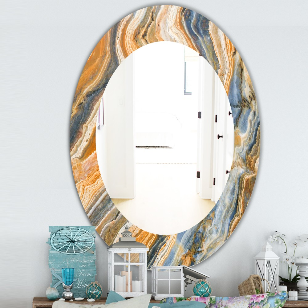 Marbled Geode 4 Traditional Oval Mirror