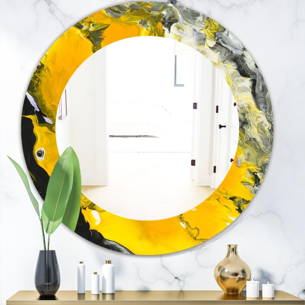 Marbled Yellow 3 - Modern Round Mirror