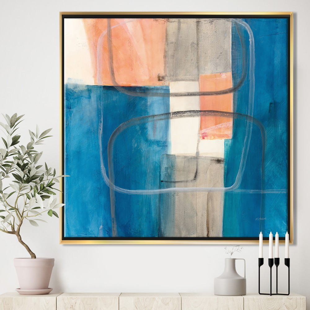 Modern Simply Blue - Mid-Century Modern Framed Canvas