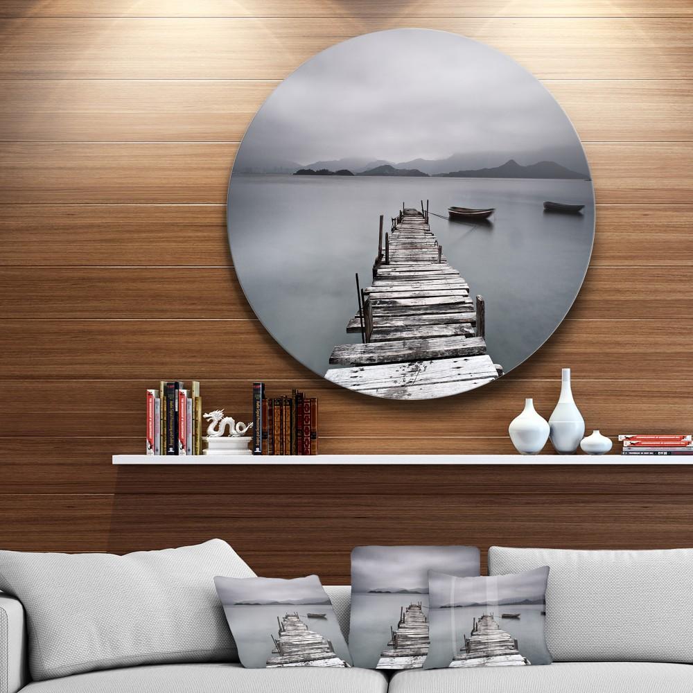 Pier and Boats at Seashore Bridge Round Circle Metal Wall Art - Round Wall Art