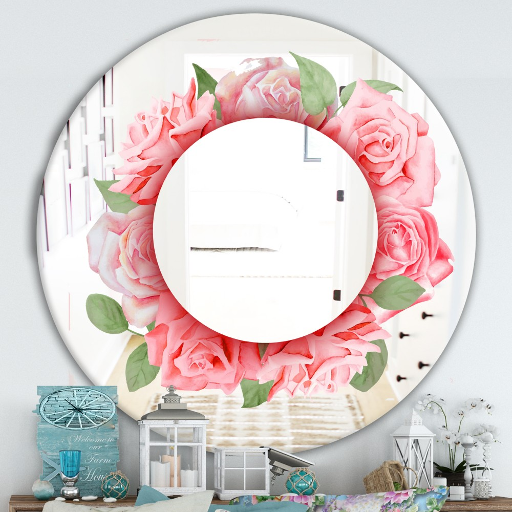 Pink Roses Leaves - Farmhouse Round Mirror