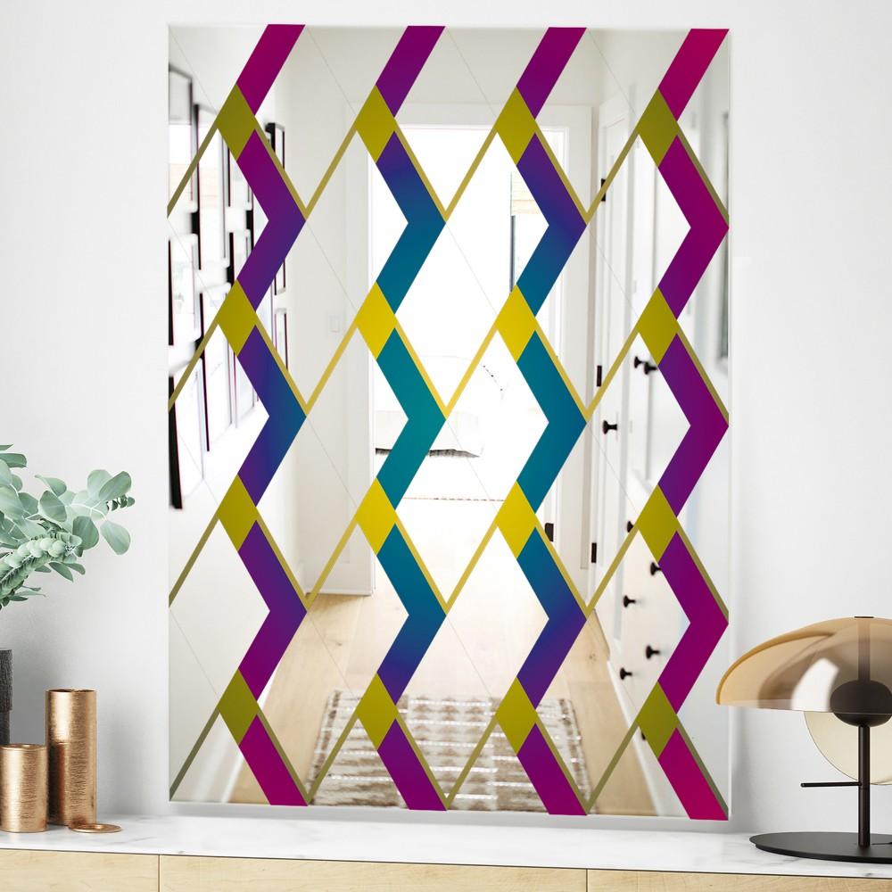 Purple Diamonds - Mid Century Modern Mirror
