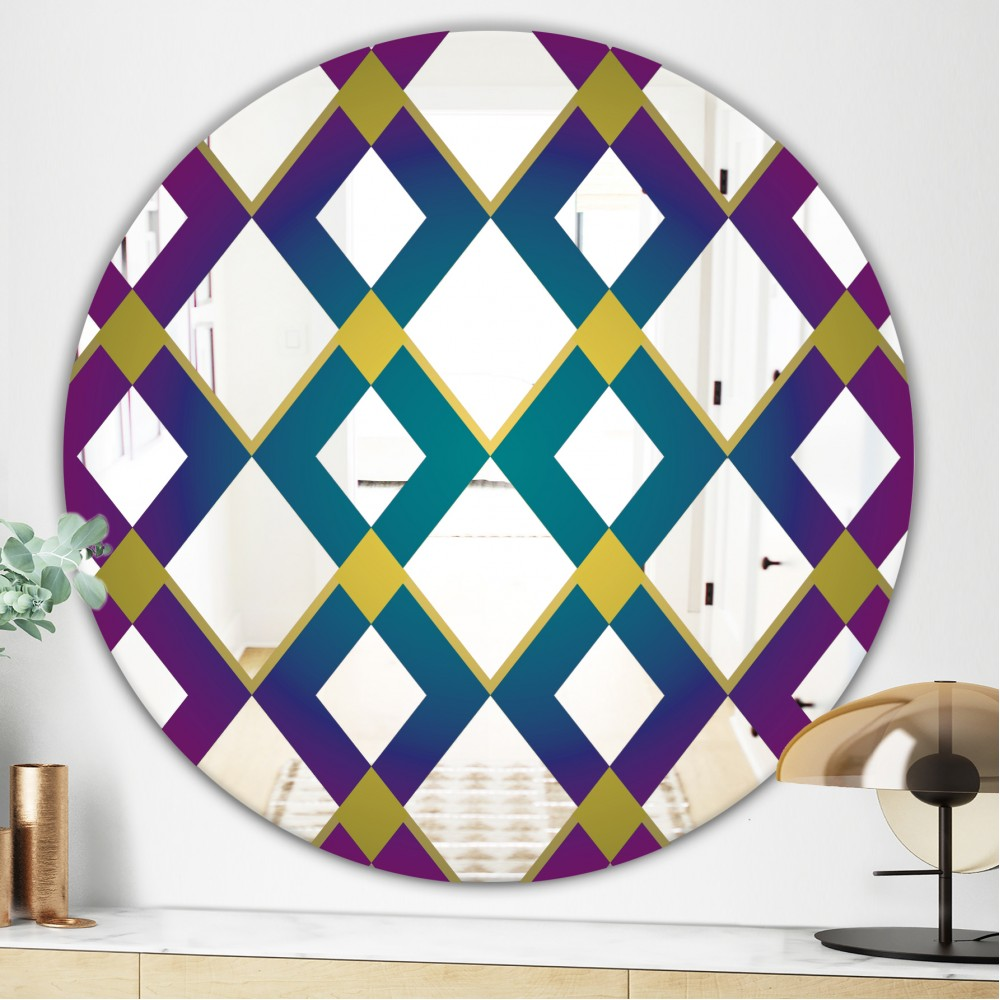 Purple Diamonds - Mid Century Modern Round Mirror