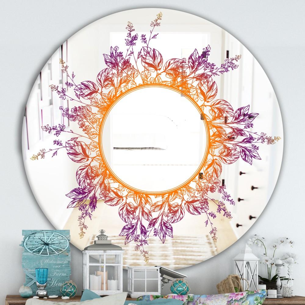 Purple And Orange Leaves - Farmhouse Round Mirror