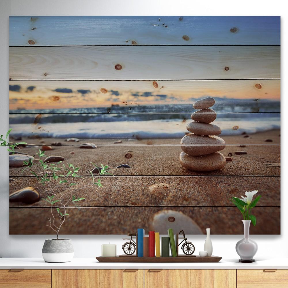 Stones Balance on Sandy Beach - Seashore Print on Natural Pine Wood