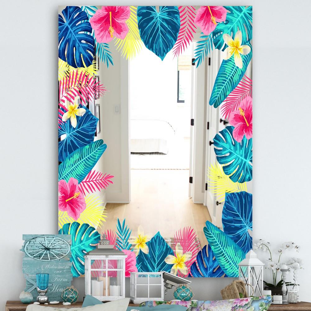 Tropical Mood Blue 10 - Farmhouse Floral Mirror