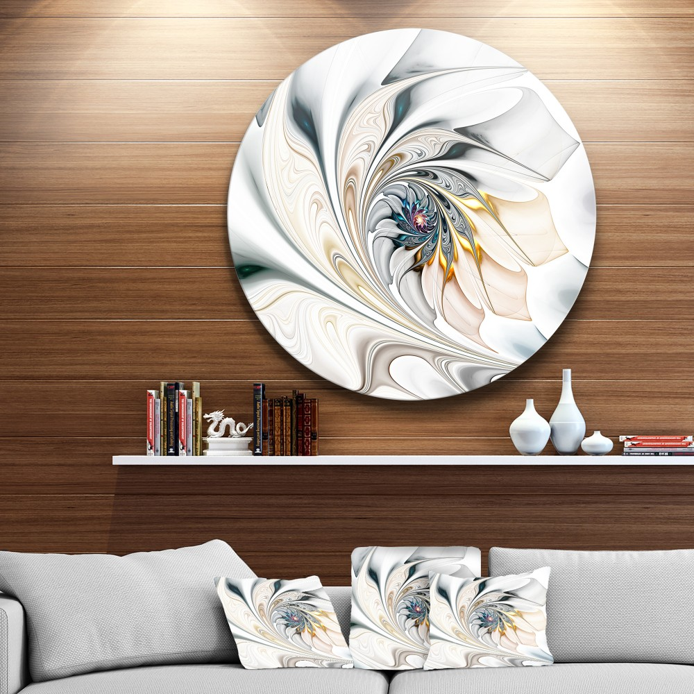 White Stained Glass Floral Art Large Floral Metal Circle Wall Art - Round Wall Art
