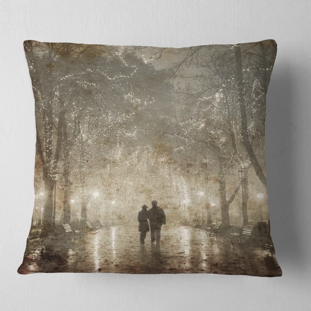 Couple Walking in Night Lights - Landscape Photography Throw Pillow