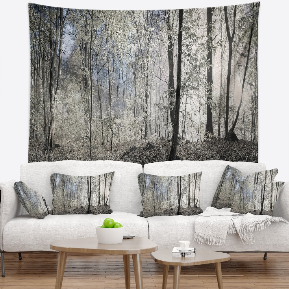 Designart Dark Morning In Forest Panorama Landscape Printed Wall Tapestry
